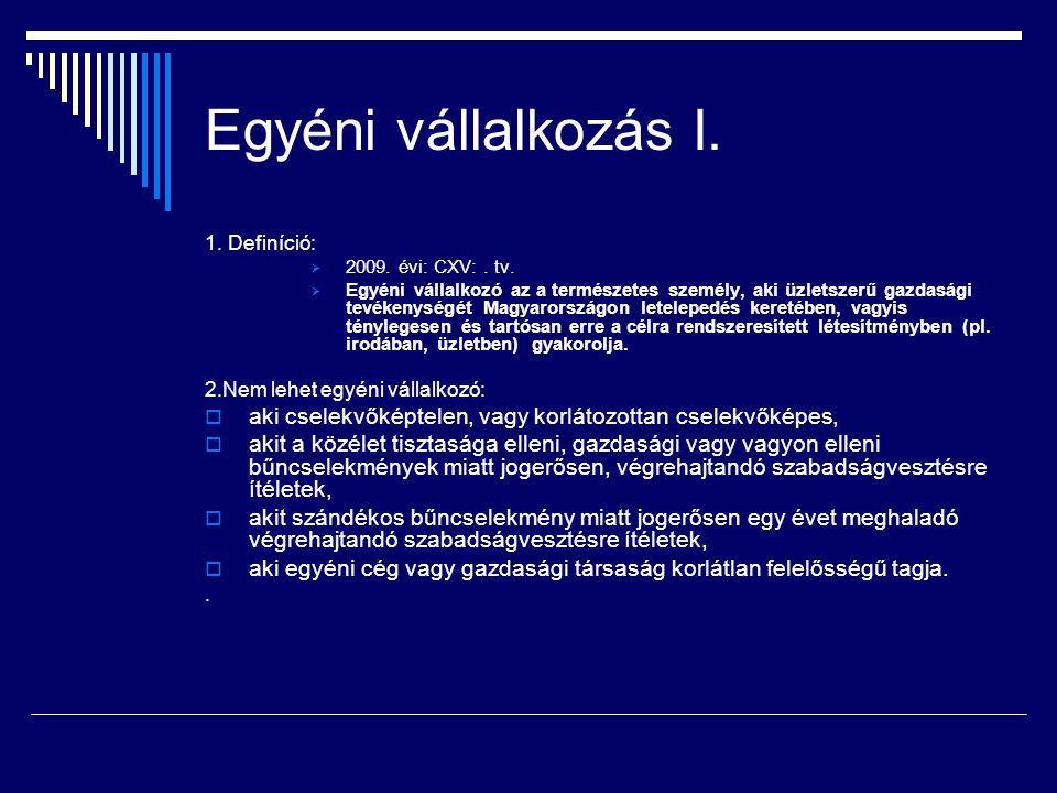 Egyéni vállalkozás I. 1. Definíció: 2009. évi: CXV: . tv.