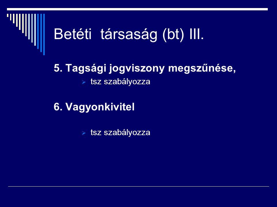 Betéti társaság (bt) III.