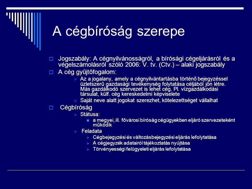 A cégbíróság szerepe Jogszabály: A cégnyilvánosságról, a bírósági cégeljárásról és a végelszámolásról szóló 2006: V. tv. (Ctv.) – alaki jogszabály.
