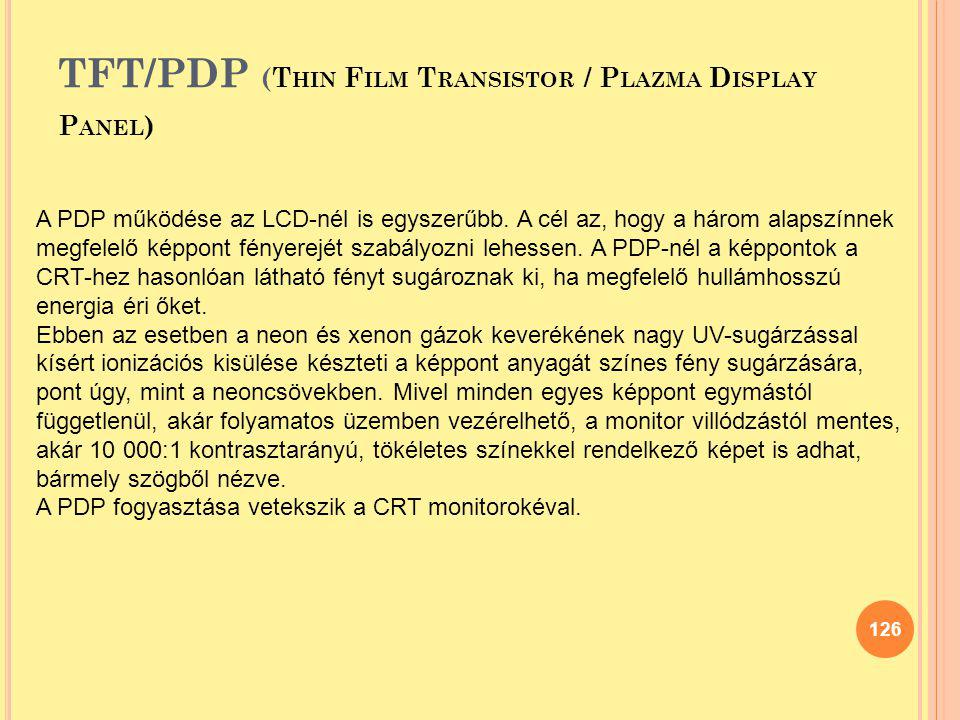 TFT/PDP (Thin Film Transistor / Plazma Display Panel)