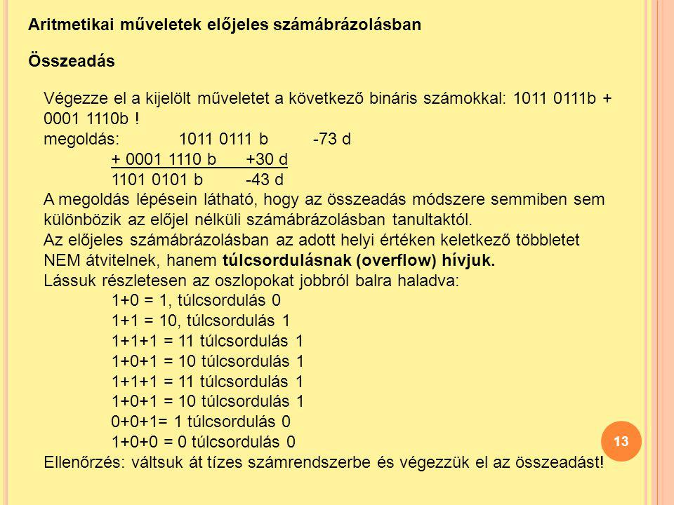 Aritmetikai műveletek előjeles számábrázolásban