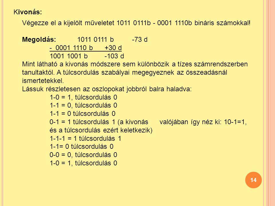 Kivonás: Végezze el a kijelölt műveletet 1011 0111b - 0001 1110b bináris számokkal! Megoldás: 1011 0111 b -73 d.