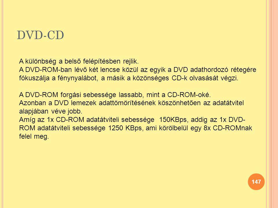 DVD-CD A különbség a belső felépítésben rejlik.