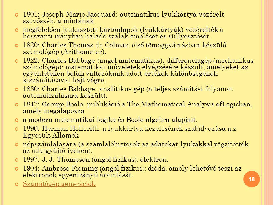 1801: Joseph-Marie Jacquard: automatikus lyukkártya-vezérelt szövőszék: a mintának
