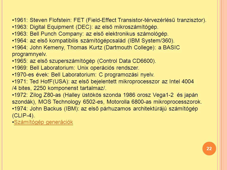 1961: Steven Flofstein: FET (Field-Effect Transistor-térvezérlésű tranzisztor).