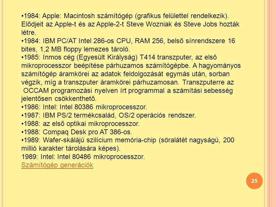 1984: Apple: Macintosh számítógép (grafikus felülettel rendelkezik)