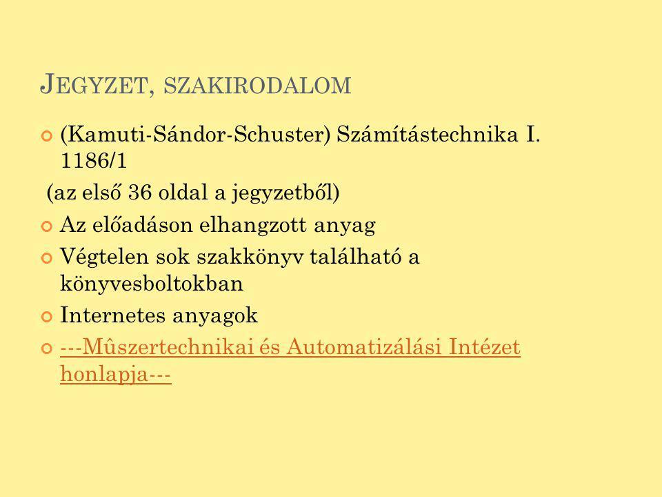 Jegyzet, szakirodalom (Kamuti-Sándor-Schuster) Számítástechnika I. 1186/1. (az első 36 oldal a jegyzetből)