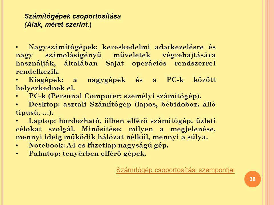 Számítógépek csoportosítása (Alak, méret szerint.)