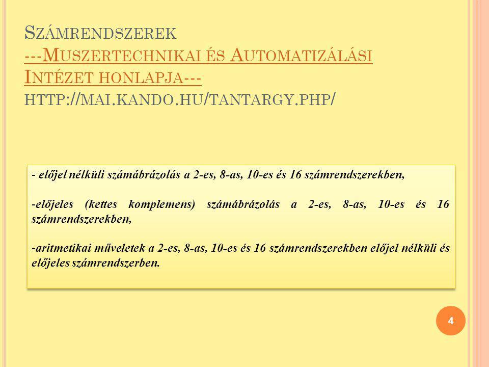 Számrendszerek ---Muszertechnikai és Automatizálási Intézet honlapja--- http://mai.kando.hu/tantargy.php/