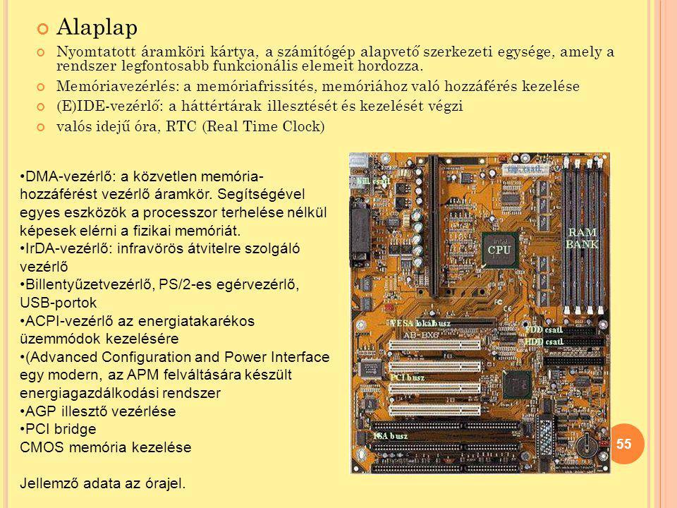Alaplap Nyomtatott áramköri kártya, a számítógép alapvető szerkezeti egysége, amely a rendszer legfontosabb funkcionális elemeit hordozza.