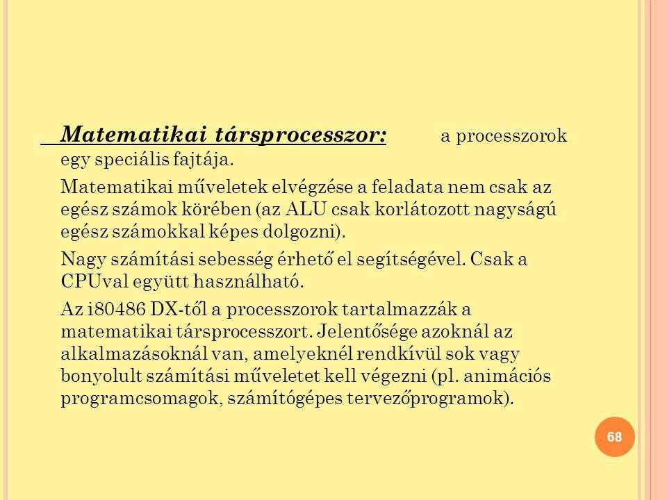 Matematikai társprocesszor: a processzorok egy speciális fajtája.