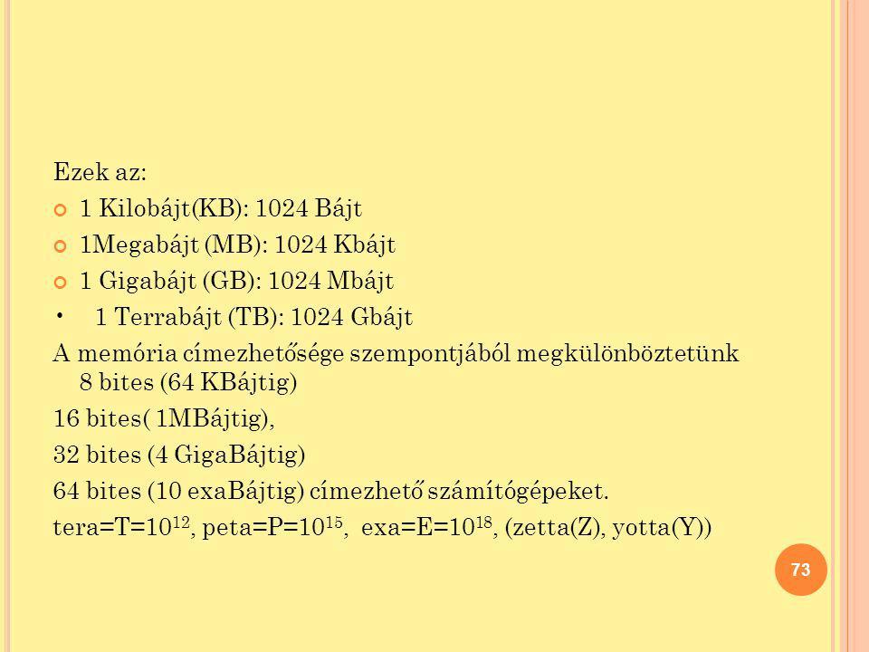 Ezek az: 1 Kilobájt(KB): 1024 Bájt. 1Megabájt (MB): 1024 Kbájt. 1 Gigabájt (GB): 1024 Mbájt. • 1 Terrabájt (TB): 1024 Gbájt.