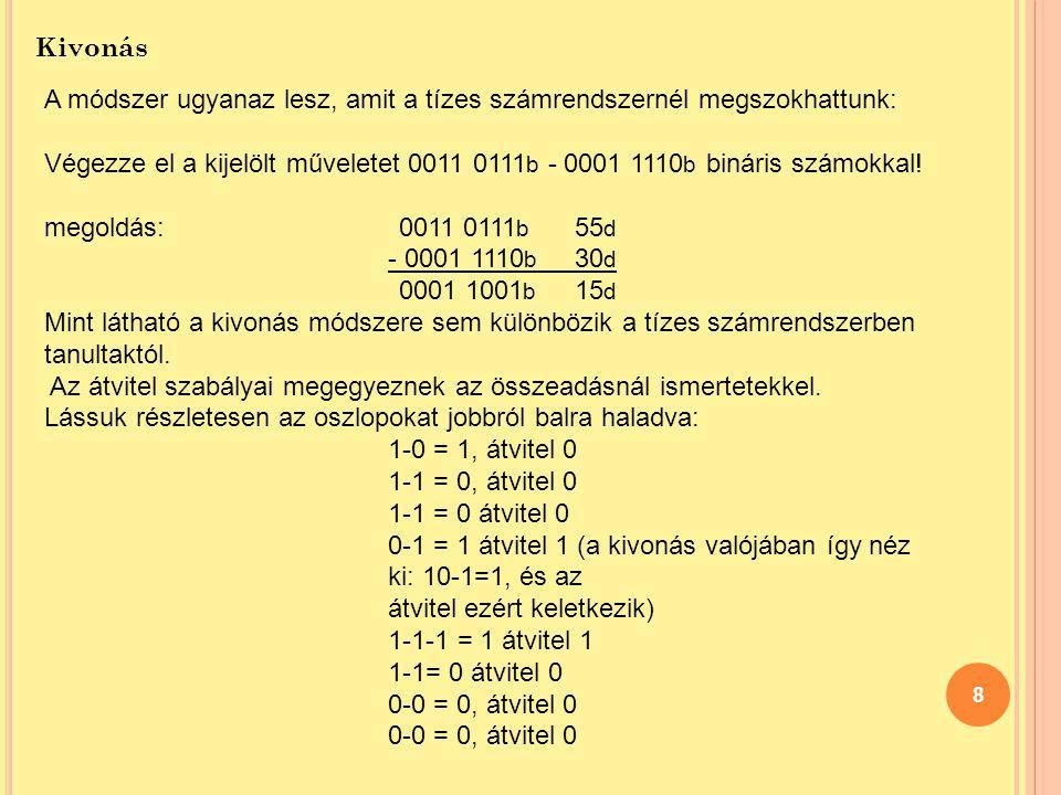 Kivonás A módszer ugyanaz lesz, amit a tízes számrendszernél megszokhattunk: