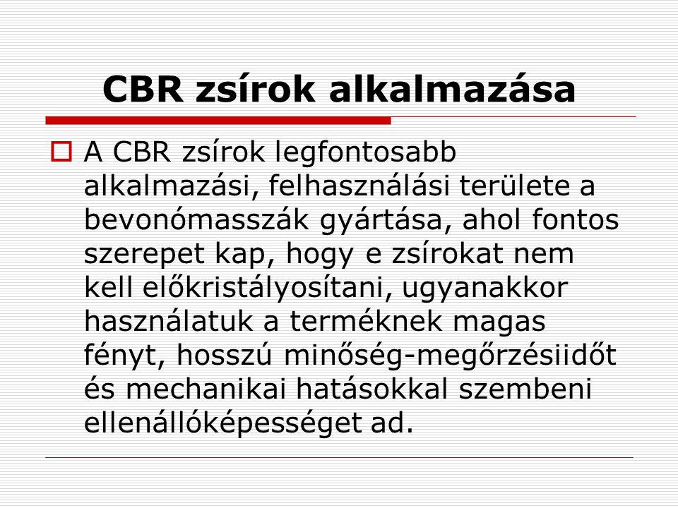 CBR zsírok alkalmazása