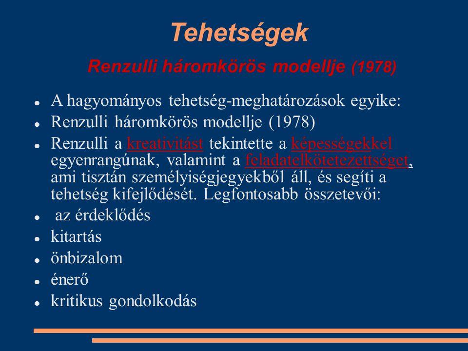 Tehetségek Renzulli háromkörös modellje (1978)