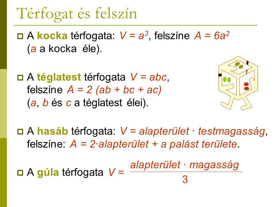 Térfogat és felszín A kocka térfogata: V = a3, felszíne A = 6a2 (a a kocka éle).