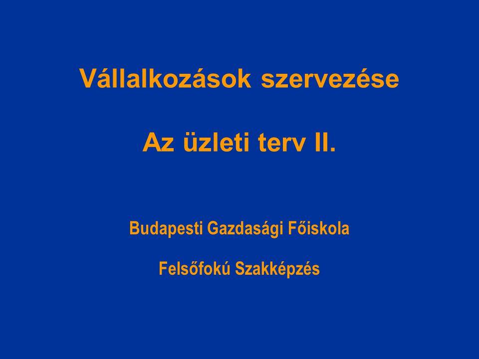 Vállalkozások szervezése Az üzleti terv II.