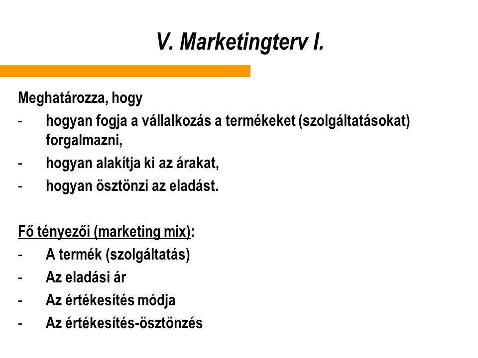 V. Marketingterv I. Meghatározza, hogy