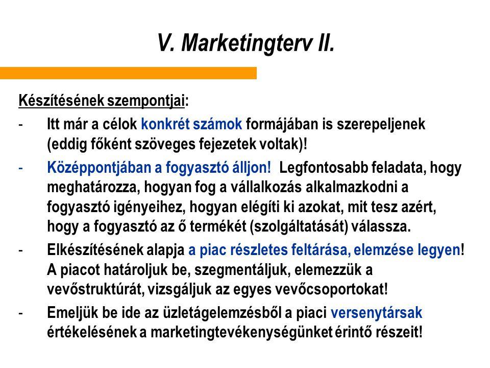 V. Marketingterv II. Készítésének szempontjai: