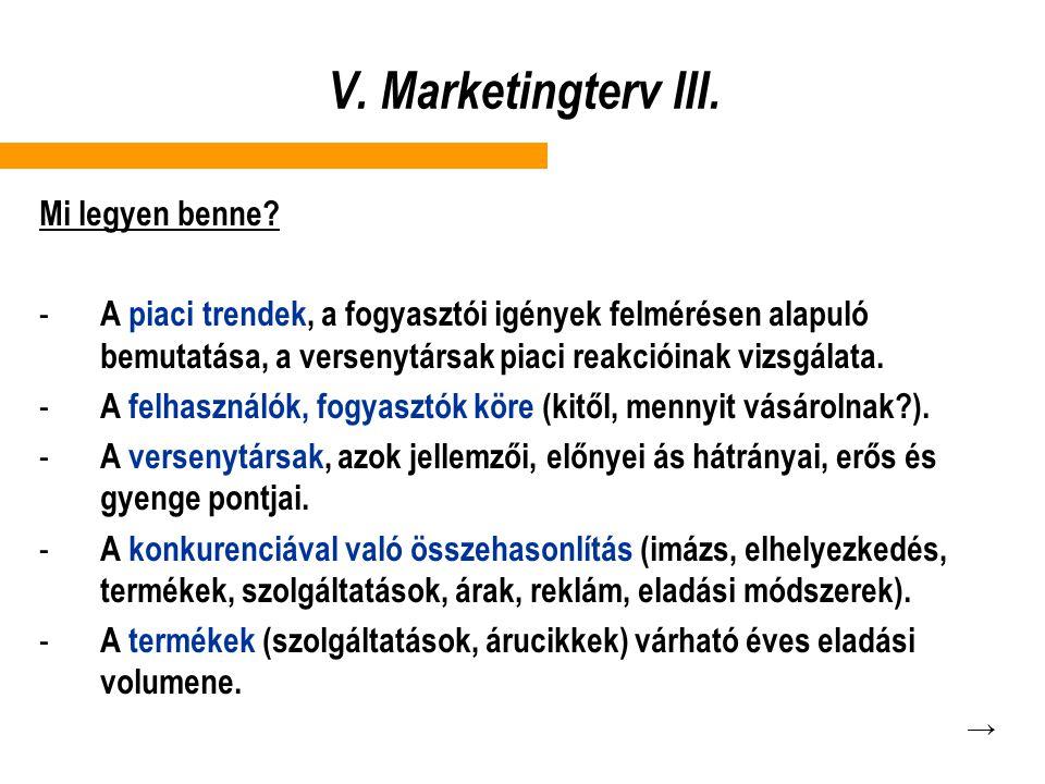 V. Marketingterv III. Mi legyen benne