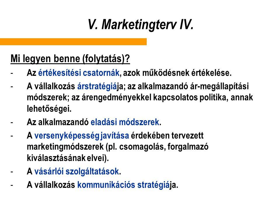 V. Marketingterv IV. Mi legyen benne (folytatás)