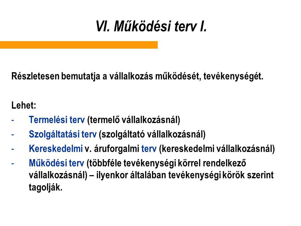 VI. Működési terv I. Részletesen bemutatja a vállalkozás működését, tevékenységét. Lehet: Termelési terv (termelő vállalkozásnál)