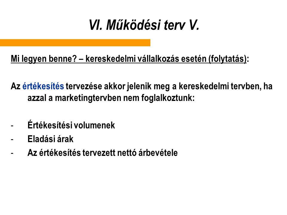VI. Működési terv V. Mi legyen benne – kereskedelmi vállalkozás esetén (folytatás):