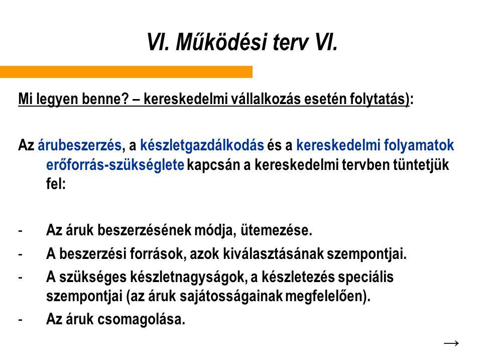 VI. Működési terv VI. Mi legyen benne – kereskedelmi vállalkozás esetén folytatás):