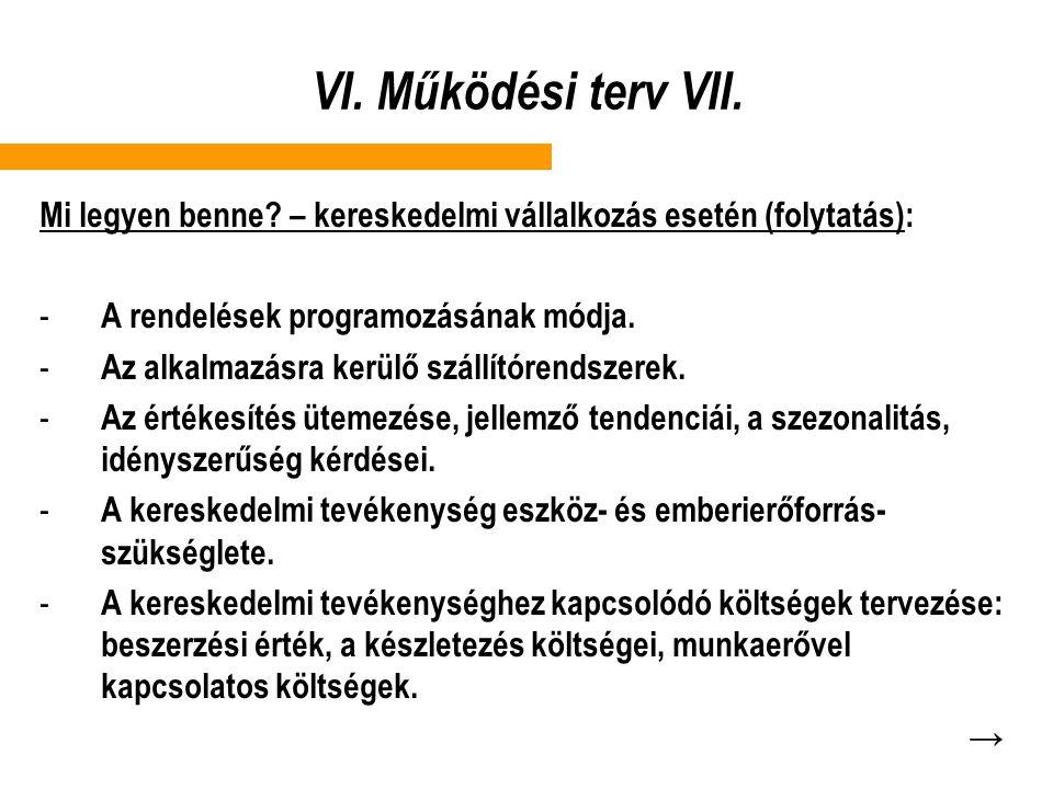 VI. Működési terv VII. Mi legyen benne – kereskedelmi vállalkozás esetén (folytatás): A rendelések programozásának módja.
