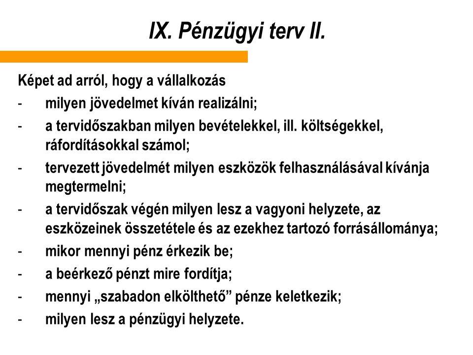 IX. Pénzügyi terv II. Képet ad arról, hogy a vállalkozás