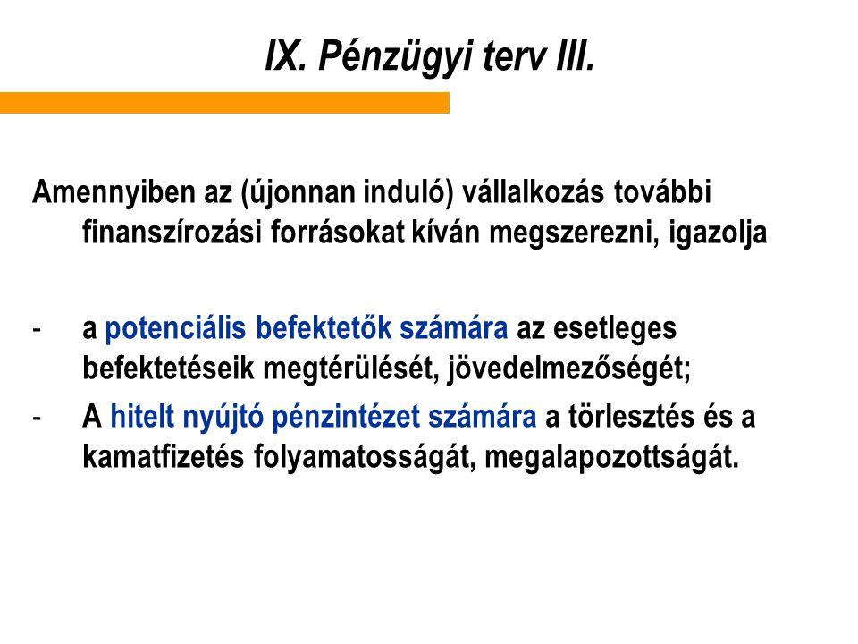 IX. Pénzügyi terv III. Amennyiben az (újonnan induló) vállalkozás további finanszírozási forrásokat kíván megszerezni, igazolja.