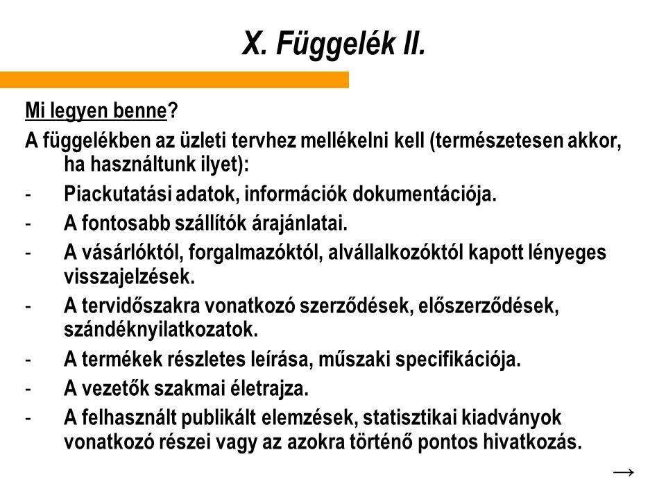 X. Függelék II. Mi legyen benne
