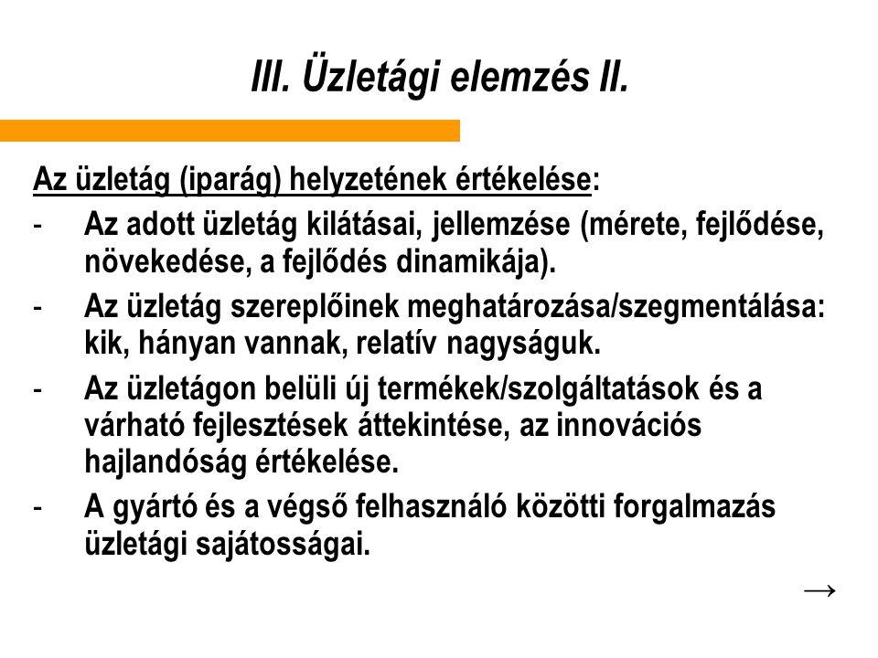 III. Üzletági elemzés II.