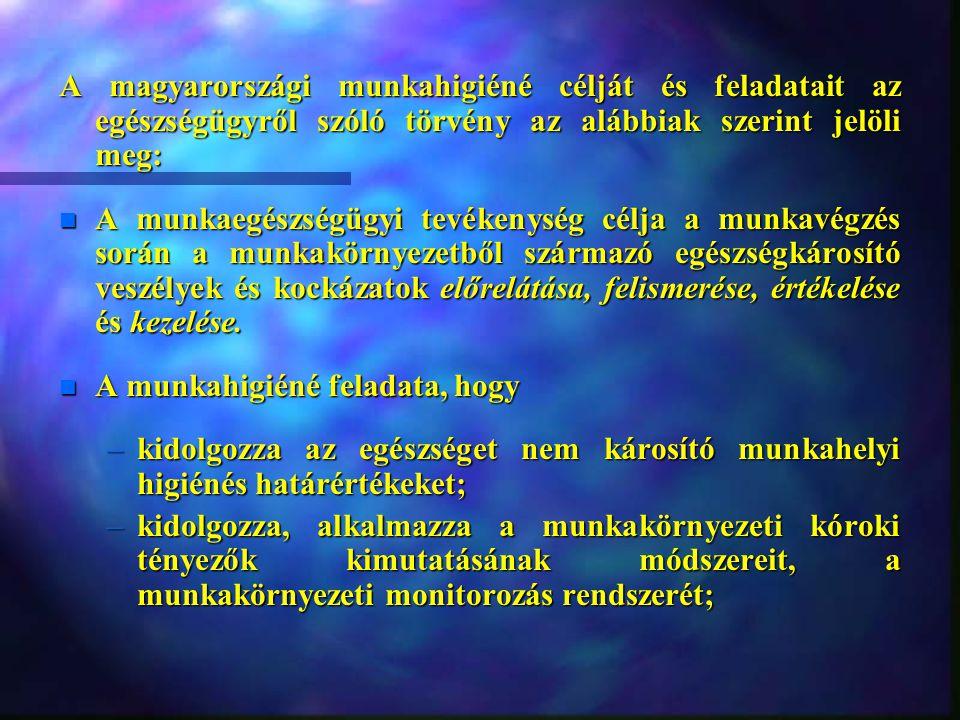 A magyarországi munkahigiéné célját és feladatait az egészségügyről szóló törvény az alábbiak szerint jelöli meg:
