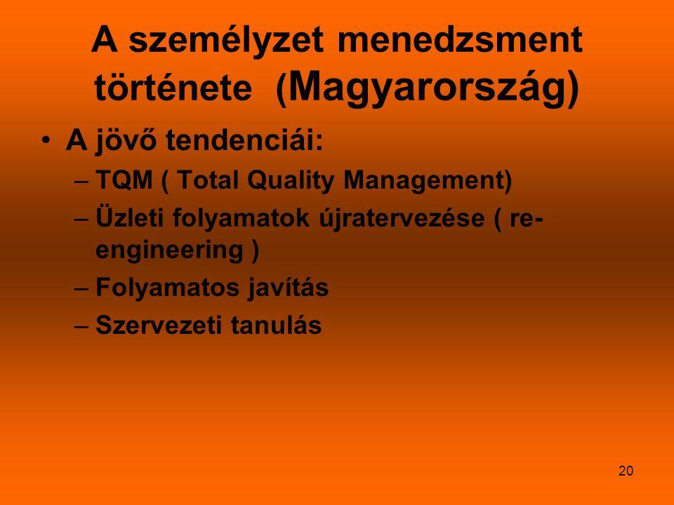 A személyzet menedzsment története (Magyarország)