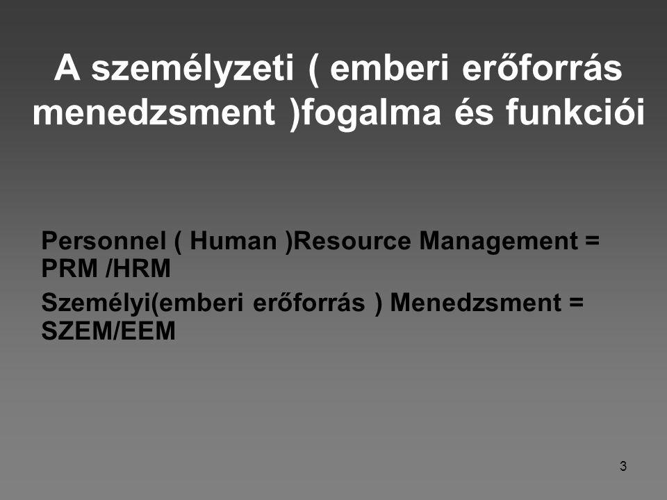 A személyzeti ( emberi erőforrás menedzsment )fogalma és funkciói