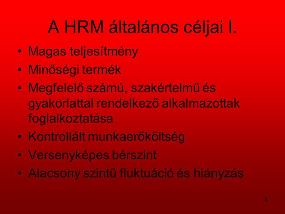 A HRM általános céljai I.