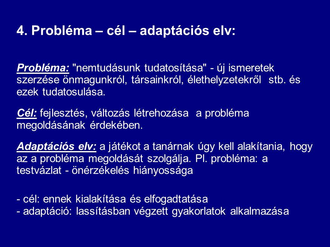 4. Probléma – cél – adaptációs elv: