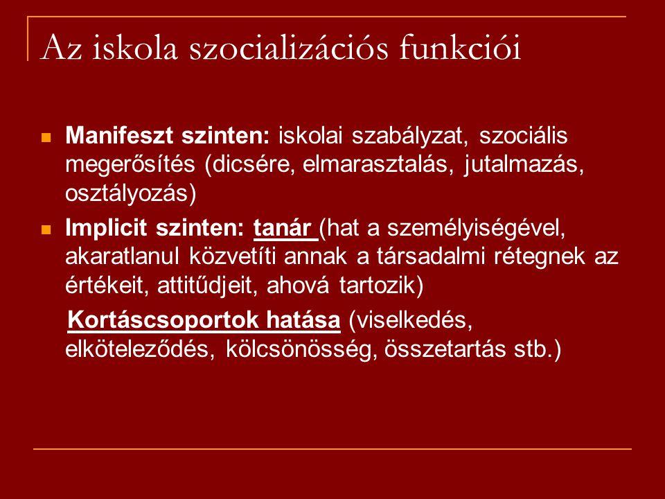 Az iskola szocializációs funkciói
