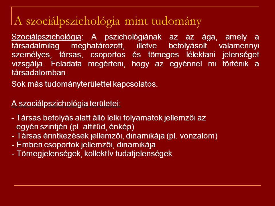 A szociálpszichológia mint tudomány
