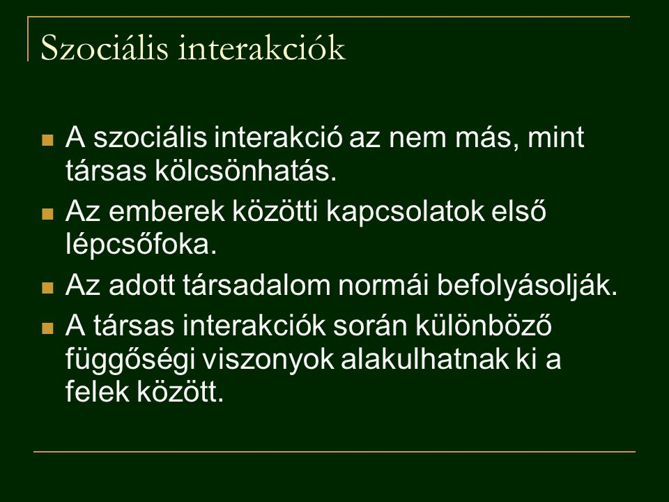 Szociális interakciók