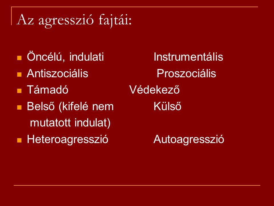 Az agresszió fajtái: Öncélú, indulati Instrumentális