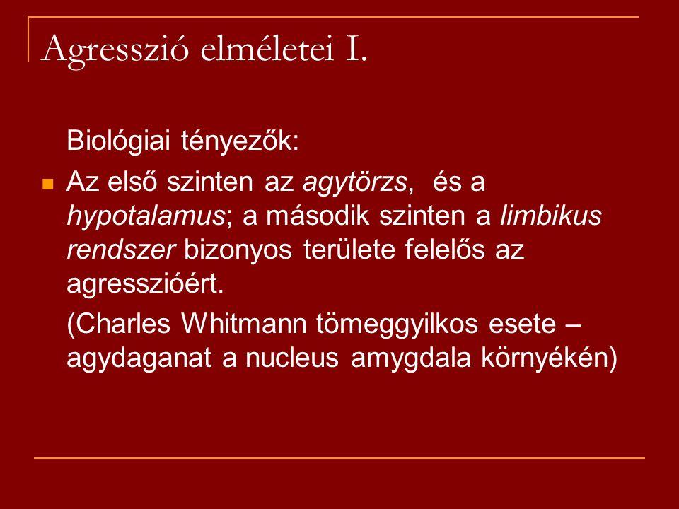 Agresszió elméletei I. Biológiai tényezők: