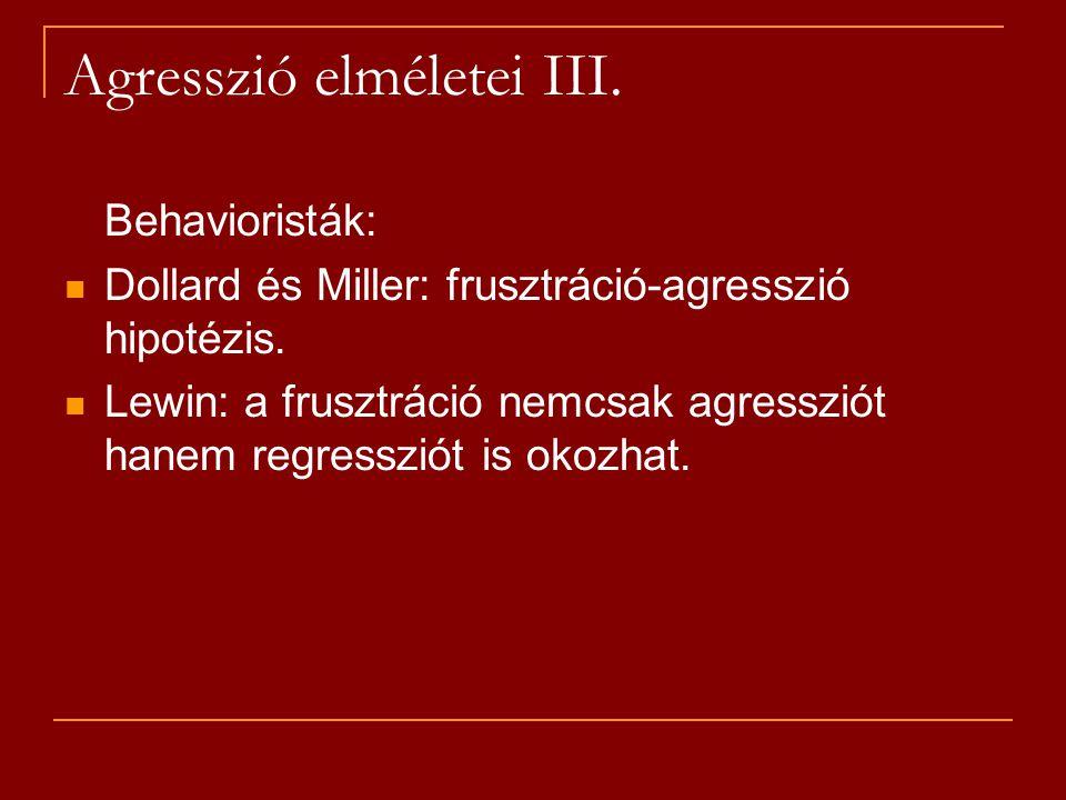 Agresszió elméletei III.