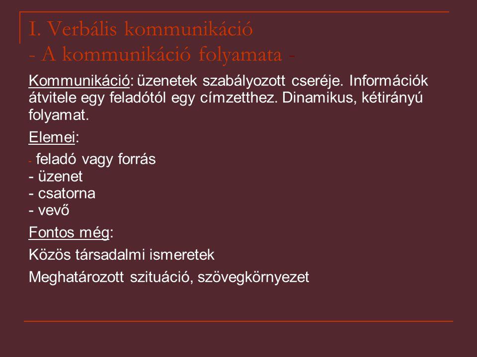 I. Verbális kommunikáció - A kommunikáció folyamata -