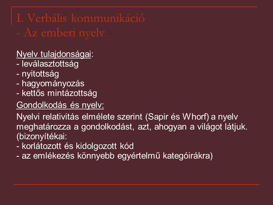 I. Verbális kommunikáció - Az emberi nyelv -