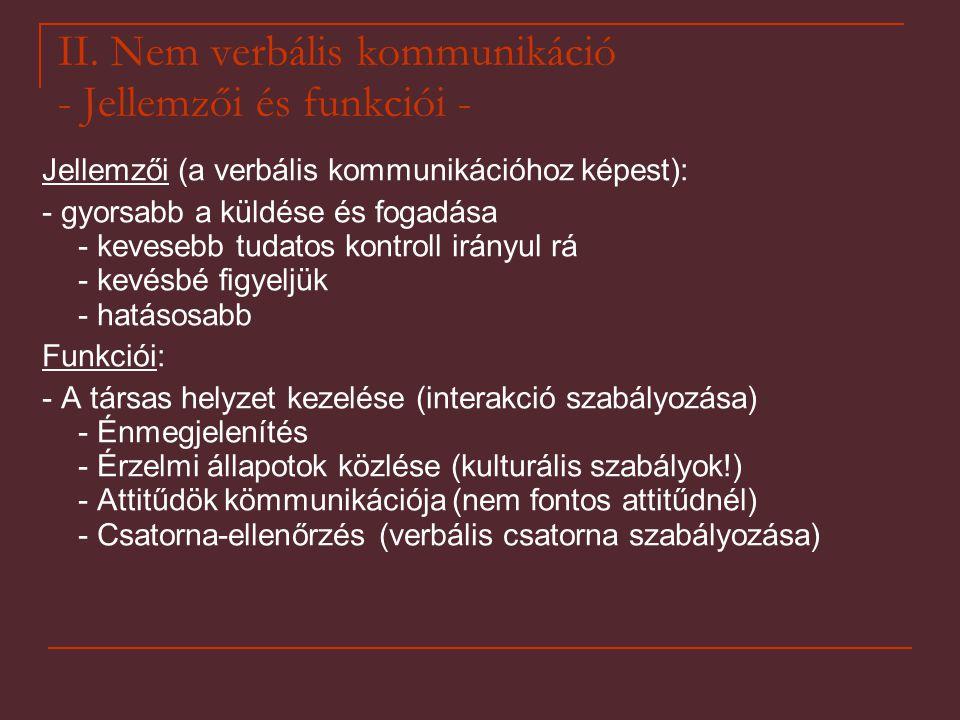 II. Nem verbális kommunikáció - Jellemzői és funkciói -
