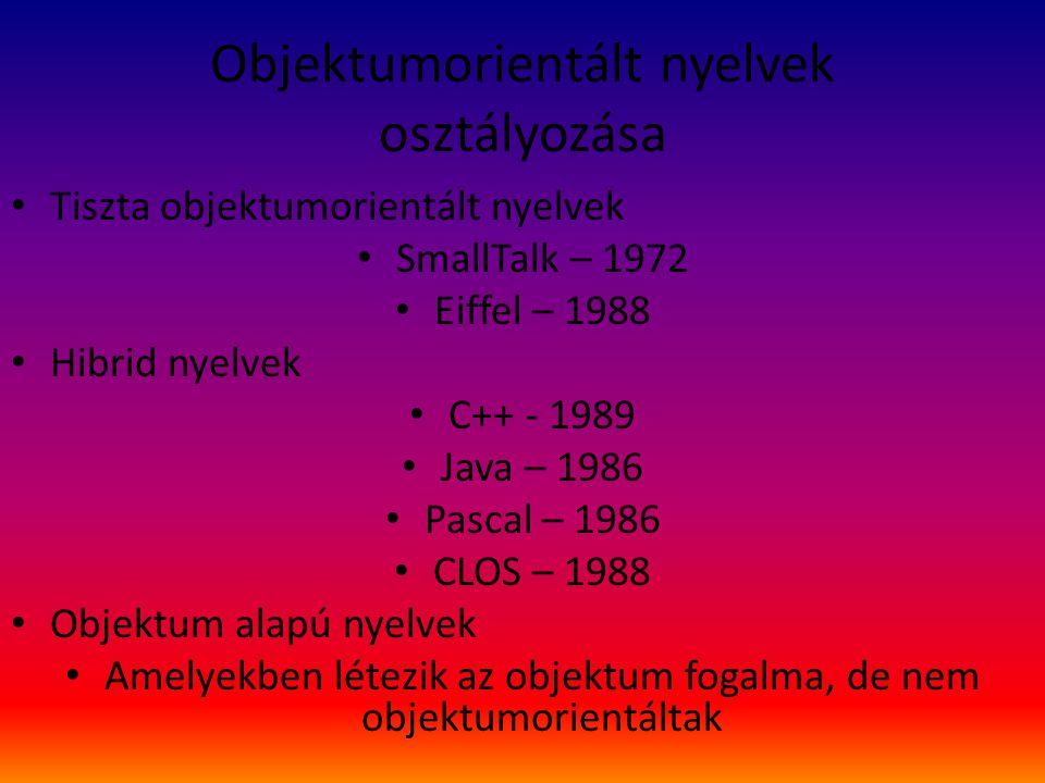 Objektumorientált nyelvek osztályozása