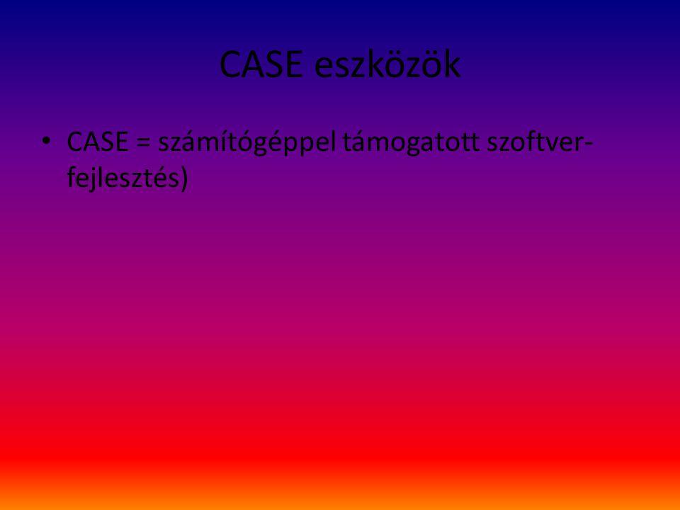 CASE eszközök CASE = számítógéppel támogatott szoftver-fejlesztés)