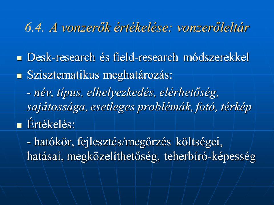 6.4. A vonzerők értékelése: vonzerőleltár